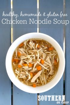 Everyone knows that Chicken Soup is a cure-all when you are feeling under the weather - but forget packet mixes and canned soup full of artificial additives and nasties, this Healthy Homemade Chicken Noodle Soup Recipe is low fat, gluten free, clean eating friendly and SO easy to make. A recipe everyone needs to keep on hand! Gluten Free Soup, Gluten Free Chicken, Healthy Chicken, Healthy Baking, Healthy Eats, Healthy Life, Chicken Noodle Soup, Healthy Soup Recipes, Food Allergies