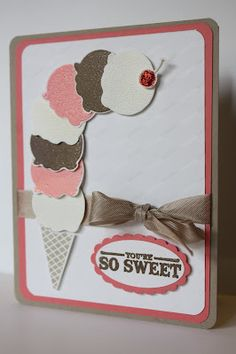 Stampin Up ice cream cone card by the Pursuit of Stampiness