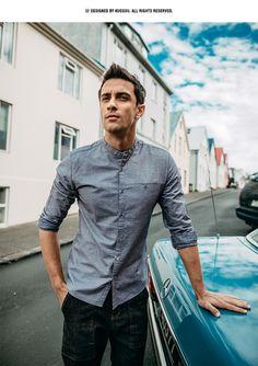 Otoño de los hombres 100% algodón Color azul gris bolsillo para hombre de  moda de 659dbe60ba5