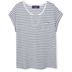 Striped Linen-Blend T-Shirt (€15) ❤ liked on Polyvore featuring tops, t-shirts, shirts, short sleeve v-neck tee, v-neck shirts, short sleeve tee, short sleeve shirts and v-neck tee