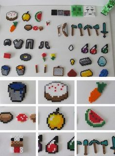 Make these to put into a diy advent calendar. You Minecraft Enthusiast's Inventory Chest will be full by Christmas. Perler Bead Designs, Perler Bead Templates, Hama Beads Design, Diy Perler Beads, Hama Beads Patterns, Perler Bead Art, Pearler Beads, Beading Patterns, Minecraft Diy