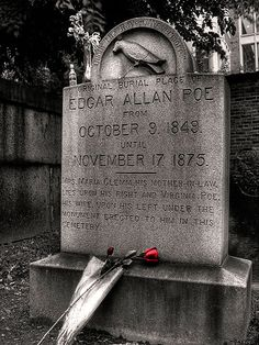 Edgar Allan Poe - Quoth the Raven Nevermore - Westminster Burial Ground, Baltimore City, MD Cemetery Headstones, Old Cemeteries, Cemetery Art, Graveyards, Edgar Allan Poe, 7 Arts, Allen Poe, Famous Graves, After Life