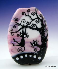 """MEET ME AT THE MAPLE"" byKAYO a Handmade COOL CAT Lampwork Glass Focal Bead SRA"
