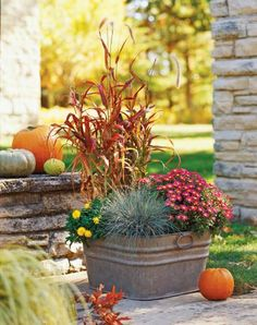 An arrangement of individually potted plants in a galvanized tub can be updated with new plants to keep the display looking fresh for a prolonged period of time.