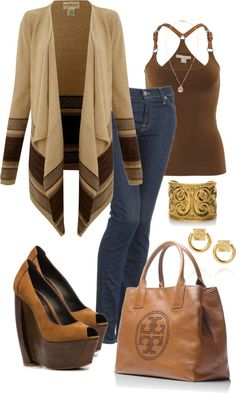 """~Wooden Wedge Shoes~"" by mels777 on Polyvore, and cardigan are amazing <3n or even cowboy boots."