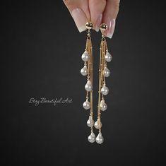 Akoya Pearl Earrings Tassel Earrings Gemstone Earrings Waterfall Earrings Silver Pearl Earrings Drop Earrings Long Dangle Earrings - These genuine silver Akoya pearls are very elegant and have the best classic look. The earrings are - Gemstone Earrings, Etsy Earrings, Crystal Earrings, Beaded Earrings, Silver Earrings, Beaded Jewelry, Silver Jewelry, Drop Earrings, Silver Ring
