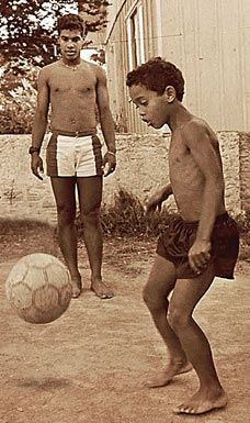 Ronaldinho as a child in Brazil...