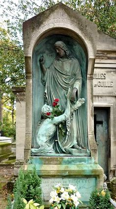 Monument for Edward de Triqueti - Sculptor: Baron Henri de Triqueti -  - Bronze 1861 - Père Lachaise Cemetery, Paris' - One of the great sorrows of Triqueti's life was the loss of his only son Edward in an accident caused by bolting horses. He was just twenty-one. Great religious sculptor that he was, in this bas-relief on the young man's arched headstone, Triqueti depicted Jesus comforting Martha before the raising of Lazarus.
