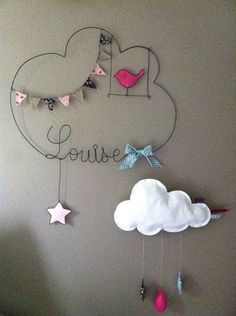 Réalisation d'un prénom en fil d'aluminium avec étoile, fanions, oiseau en tissu très originale pour décorer la chambre de votre enfant dimensions : largeur 51 X hauteur 43 - 10728485