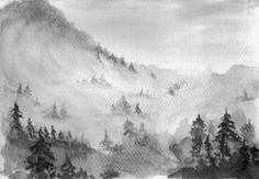 watercolor black and white forest. Illustration for poster. Home decor. Postcard design. Catalog Manager | Shutterstock