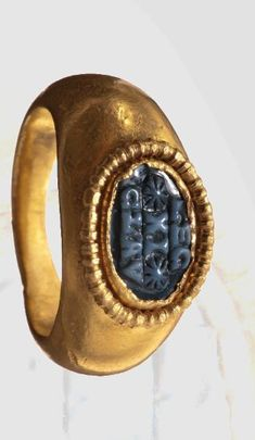 """A Roman gold ring for an officer. The Leigo VI was established in 58 B.C. and was awarded the honorific title """"Claudia Pia Fidelis"""" under Emperor Claudius, ca. 2nd -3rd century A.D."""