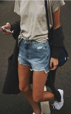 summer outfits Grey Tee + Ripped Denim Short