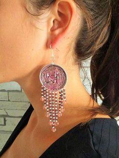 Boucles d'oreilles - capsules Nespresso et perles - Vert et Rose