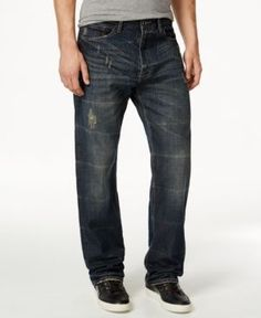 Sean John Men's Patch-Pocket Hamilton Relaxed Fit, Destructed Jeans, Only at Macy's - Blue 42x32