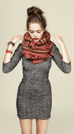 3/4 Sleeves Fall Dress With Scarf