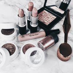 pinterest: @lilyosm | colourpop cosmetics mac nars makeup flatlay collection pink rose gold