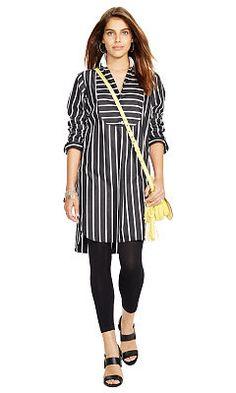Gestreiftes Hemdkleid aus Popeline - Polo Ralph Lauren Halblange Kleider - Ralph Lauren Deutschland