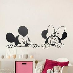 Cartoon Mickey Minnie Mouse Cute Animal Vinyl Wall stickers Mural Wallpaper Baby Room Decor Nursery Wall Decal Home Decor ~ Cute Home Decor ~ Olivia Decor - decor for your home and office. Baby Nursery Art, Nursery Wall Stickers, Wall Stickers Murals, Vinyl Wall Decals, Window Stickers, Sticker Mural, Sticker Vinyl, Nursery Room, Window Decals