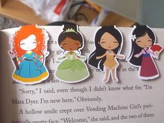 ♥ Includes 5 mini princess bookmarks! ♥ Each bookmark is approximately 1.75 inches high on each side. ♥ Please leave a note at checkout