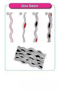 Diva Dance - Step by Step Zentangle Pattern Tangle Doodle, Tangle Art, Zen Doodle, Doodle Art, Mandala Pattern, Mandala Design, Wave Pattern, Pattern Art, Zentangle Drawings