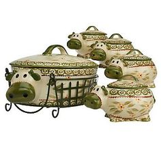 Temp-tations Old World 2.5qt Figural Cow Baker with 4 Mini Bakers