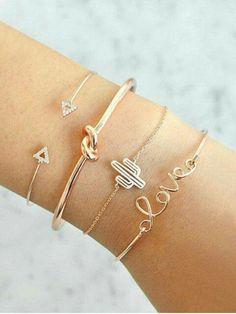 Buy Rhinestone Arrow LOVE Alloy Bracelet Set - Gold - online, fidn many other Bracelets Bracelets Design, Love Bracelets, Silver Bracelets, Fashion Bracelets, Jewelry Bracelets, Fashion Jewelry, Bangle Bracelet, Beaded Bracelet, Arrow Bracelet