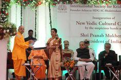 Shri Pranab Mukherjee (President of INDIA) accepting welcome gift from gopal krishna swami at ISKCON