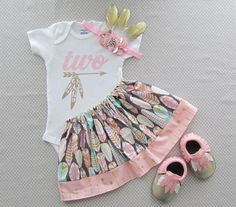 Second Birthday Tribal Princess Outfit pink by noellebydesign