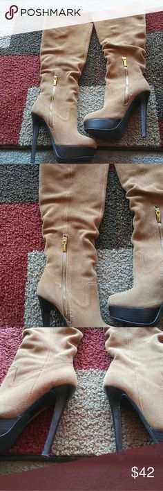 Colin Stuart Tan Suede Boots Beautiful..nice quality & barely worn..get a head start on winter with these gorg boots! Colin Stuart Shoes Heeled Boots