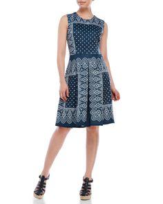 Nanette Nanette Lepore Bandana Print Scuba Fit & Flare Dress