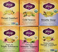 Yogi Tea Cold Weather Season Tea Variety Pack Features 6 Varieties of Yogi Tea (Each Box Contains 16 Tea Bags) Flavors Include: Breathe Deep, Cold Season, Echinacea Immune Support, Green Tea Triple Echinacea, Honey Lemon Throat Comfort, and Throat Comfort