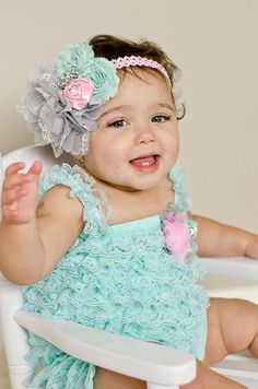 64f8b20c45d4 Im just smitten by this little outfit! The aqua lace romper is covered in  soft