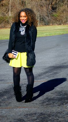 Style & Poise-Neon and Fringe (Asos Skater Skirt, Faux Fur Vest, Fringe Boots, Asos Striped box clutch)