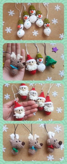 There are adorable Christmas ornament set. That included - Santa, Snowman, Deer and Christmas treeIt is crocheted from acrylic yarn and filled with fyberfill. It is charm for yours bags, mobile or backpack.This crochet santa claus keychain is cute Christmas gift. Also you can give these ornaments as favors. These favors are perfect for a Christmas party or winter party.Set included:- Santa- Snowman- Deer- Christmas tree