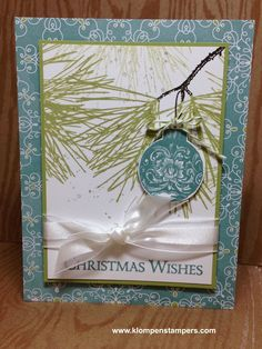 All is Calm dsp, Pear Pizzazz, Lost Lagoon, Old Olive Baker's Twine, White Organza ribbon