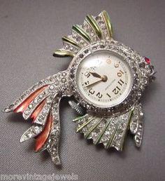 Vintage Rhinestone Metallic Enamel Fish Lapel Brooch Watch Pin Figural 1940's
