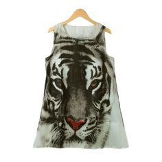 New Europe Fashion Women Mini Dress Tiger Head Print O Neck Sleeveless Loose Casual Summer A-Line Dress Black