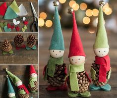 These Felted Pine Cone Elves are fun and inexpensive to make and look great. They are just one of the many gorgeous Christmas Ornaments that we have included in our post. View them all now and Pin your favourites.