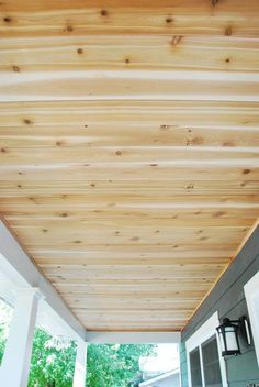 Check out how we completed a DIY cedar lined porch ceiling on our home. Step by step instructions + photos to guide you through the process! Wood Ceilings, Ceiling Beams, Natural Spider Repellant, Outdoor Projects, Outdoor Decor, Outdoor Spaces, Outdoor Living, Outdoor Ideas, Courtyards