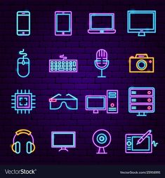 Computer technology neon icons vector image on VectorStock Technology Posters, Technology Hacks, Technology Design, Medical Technology, Computer Technology, Technology Logo, Technology Apple, Teaching Technology, Educational Technology