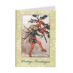 """The Holly Fairy glittered Christmas card ~ Holland ~ Green. """"Prettige Kerstdagen en een Gelukkig Nieuwjaar"""" which means Merry Christmas and a Happy New Year in Dutch."""