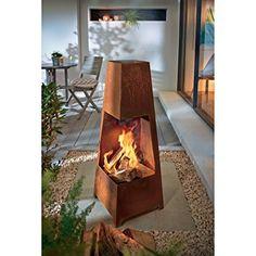 Braciere da giardino metallo aspetto arrugginito altezza 100 CM: Amazon.it: Giardino e giardinaggio