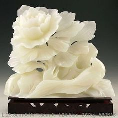 RP: Chinese Natural White Jade  Carved Flower Statue  ebay.com