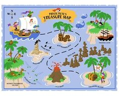 Elephants on the Wall Pirate Petes Treasure Map  - Wall Sticker Outlet