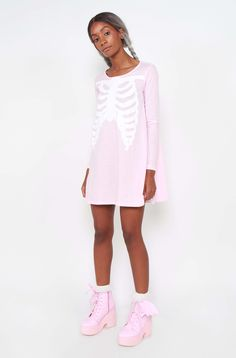 Presenting a bone chilling beauty, the Wishbone Trapeze Dress in Pink. This cute skater style dress has the popular wishbone rib cage design on the front. Window Shopper, Skater Style Dress, Iron Fist, Long Sleeve Mini Dress, Tank Dress, Dress To Impress, Short Dresses, Style Inspiration, Stylish