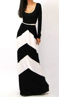 Sexy U-Neck Long Sleeve Low Cut Geometric Color Block Stripe Women's Maxi Dress