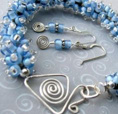 Handmade jewelry is definitely on trend right now. This shade of blue with the silver is absolutely gorgeous.