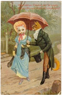 Details about POSTCARD THIELE SIGNED DRESSED CAT LOVERS UNDER UMBRELLA T.S.N…