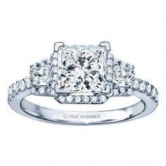Rm1315-14k White Gold Princess Cut Halo Diamond Engagement Ring