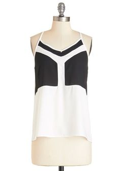 Black and White Movies Top - Sheer, Woven, White, Girls Night Out, Spaghetti Straps, Summer, Black/White, Sleeveless, Black, Casual, Colorblocking